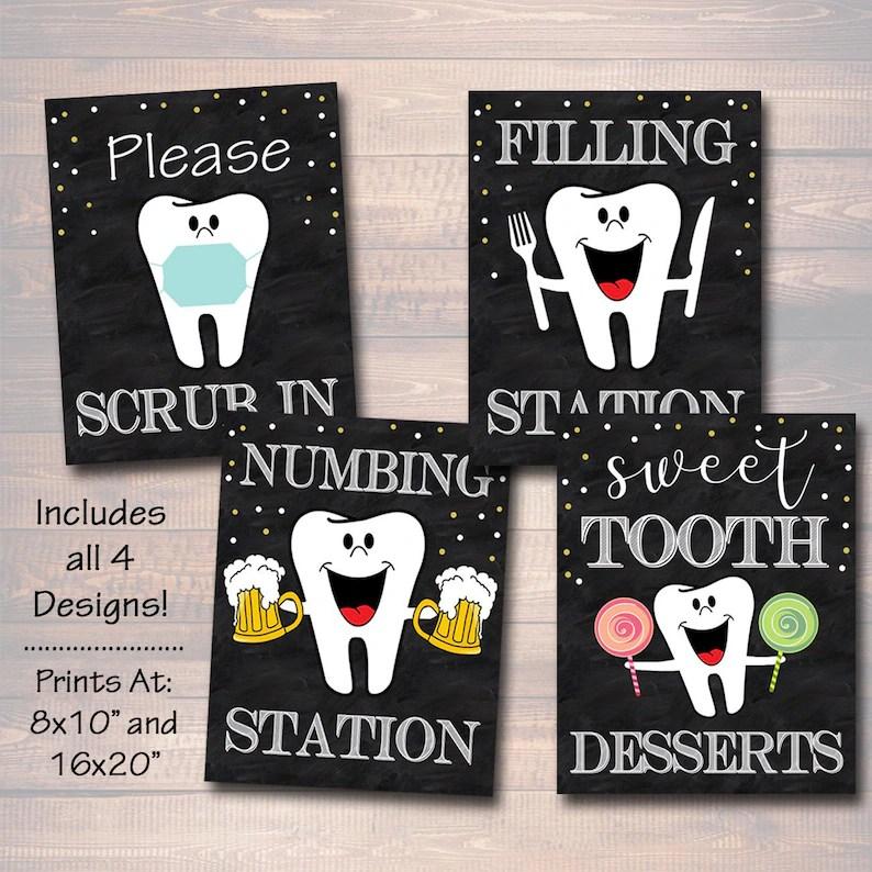 Dental Retirement Party Signs Chalkboard Printable Dentist Etsy