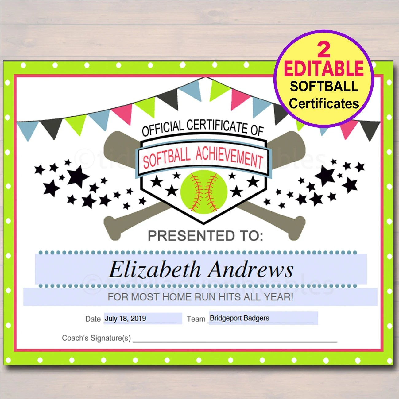 EDITABLE Softball Certificates INSTANT DOWNLOAD Softball