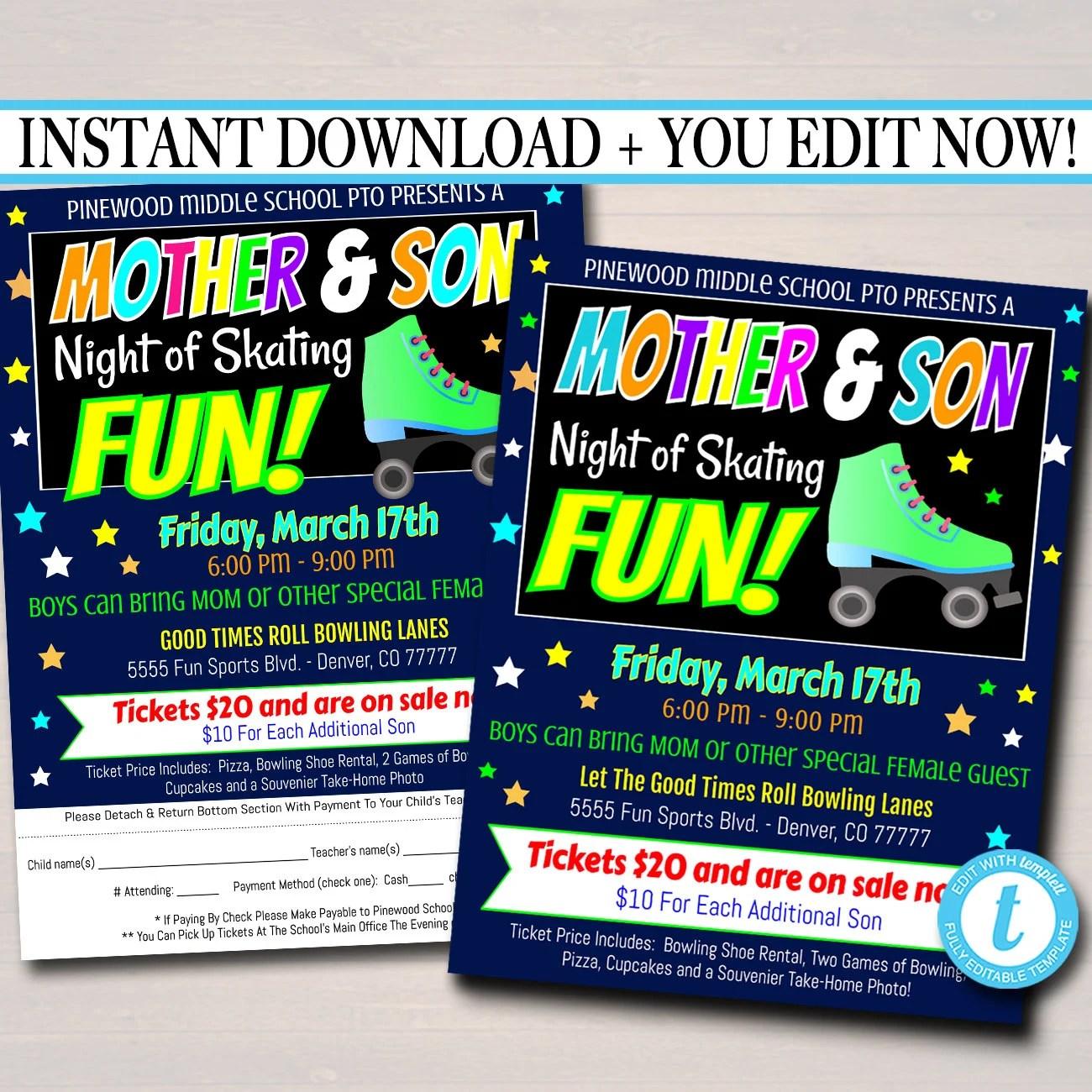 EDITABLE Mother Son Skate Night Flyer Invite Set School Invitation