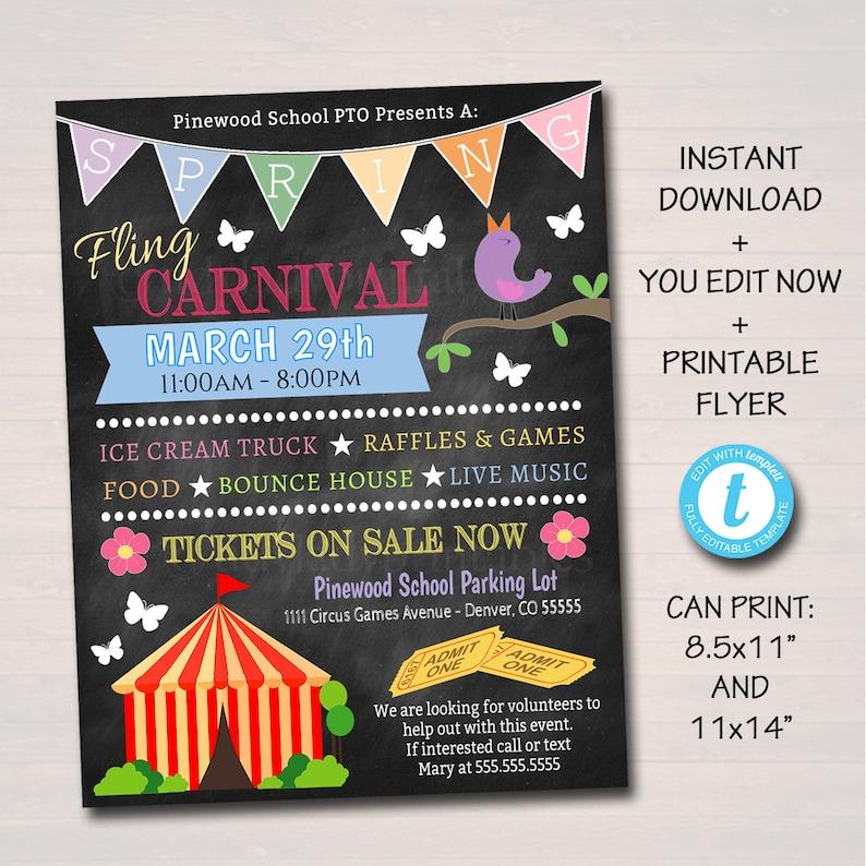 EDITABLE Spring Carnival Flyer Printable PTA PTO Flyer Etsy