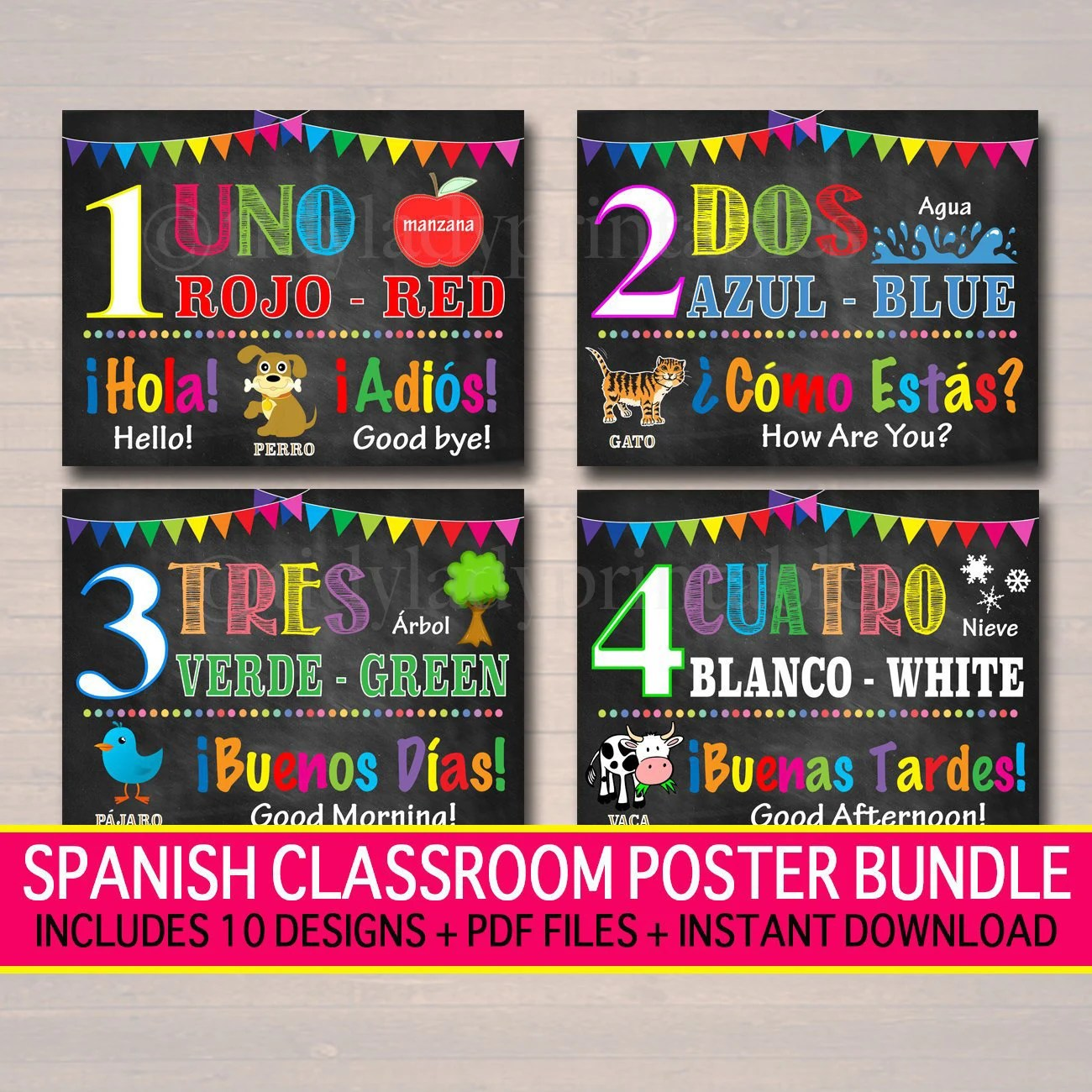Poster In Spanish Spanish Classroom Printable Poster Set Spanish Art Elementary Middle School Teacher Printables Vocabulary Colors Numbers Instant Download