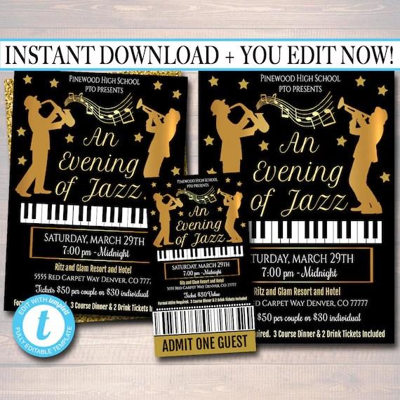 EDITABLE Jazz Benefit Fundraiser Invitation/Flyer/Ticket Set Etsy