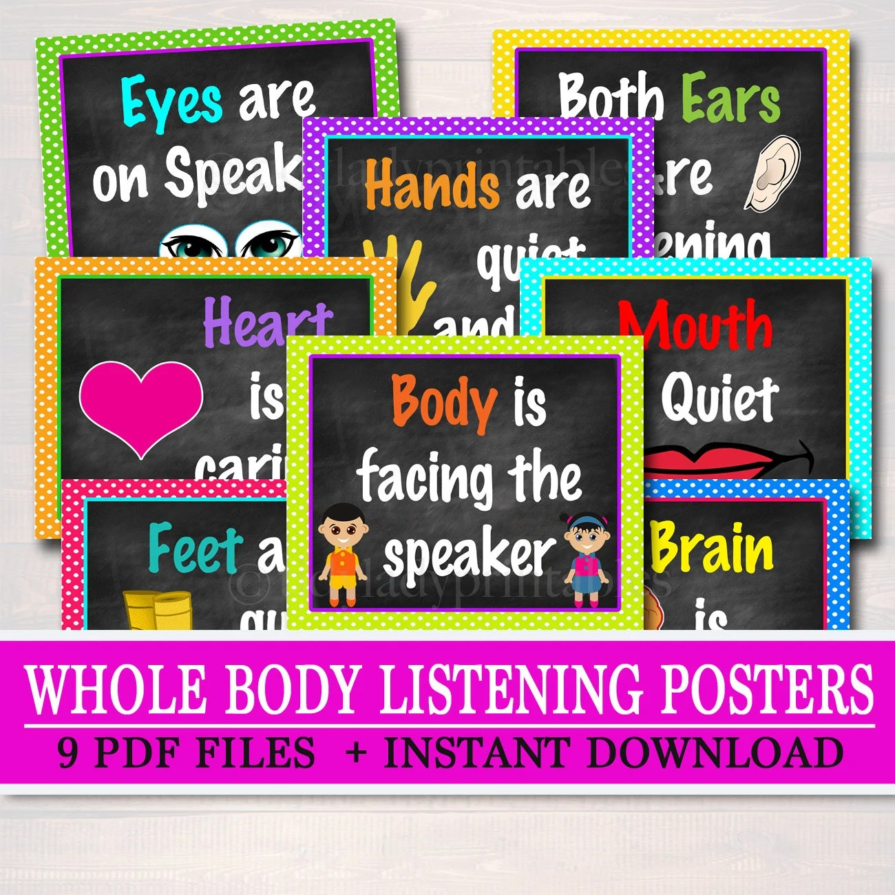 Classroom Decor Whole Body Listening Poster Kindergarten Etsy
