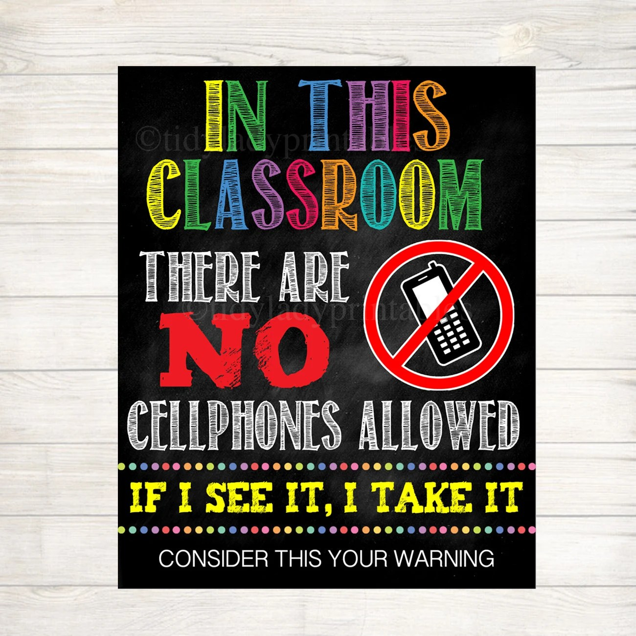 No Cellphones Allowed School Poster Classroom Decor Etsy