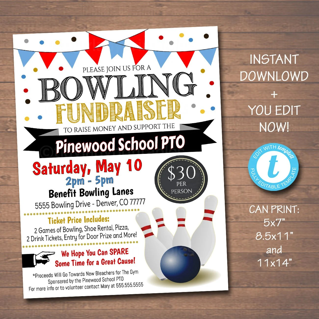 EDITABLE Bowling Fundraiser Flyer Printable PTA PTO Flyer Etsy