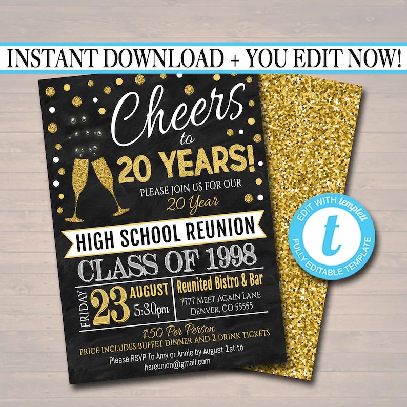 Editable Class Reunion Invitation Template Any Year Etsy