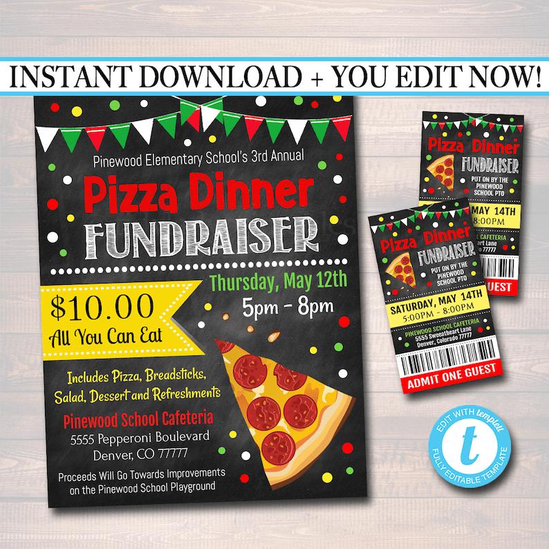 EDITABLE Pizza Dinner Fundraiser Flyer Ticket Set pto pta Etsy