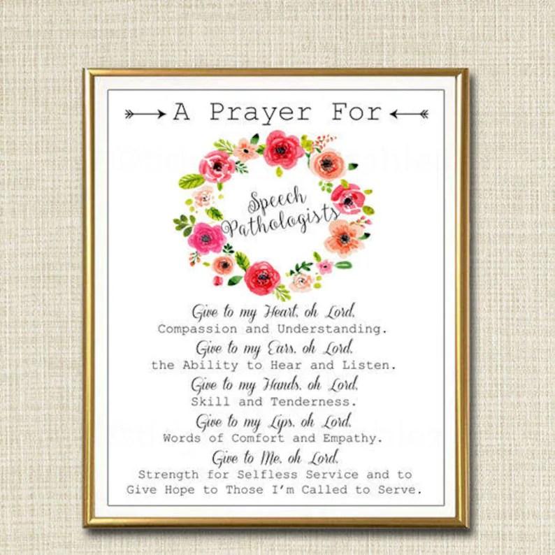 Speech Pathologist Prayer Art SLP Gift Religious Office Wall Etsy