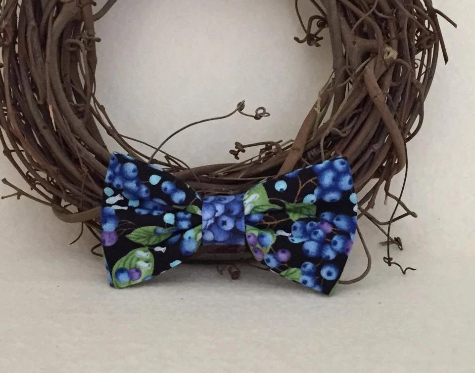 Dog Bow Bow Tie Blueberries Etsy