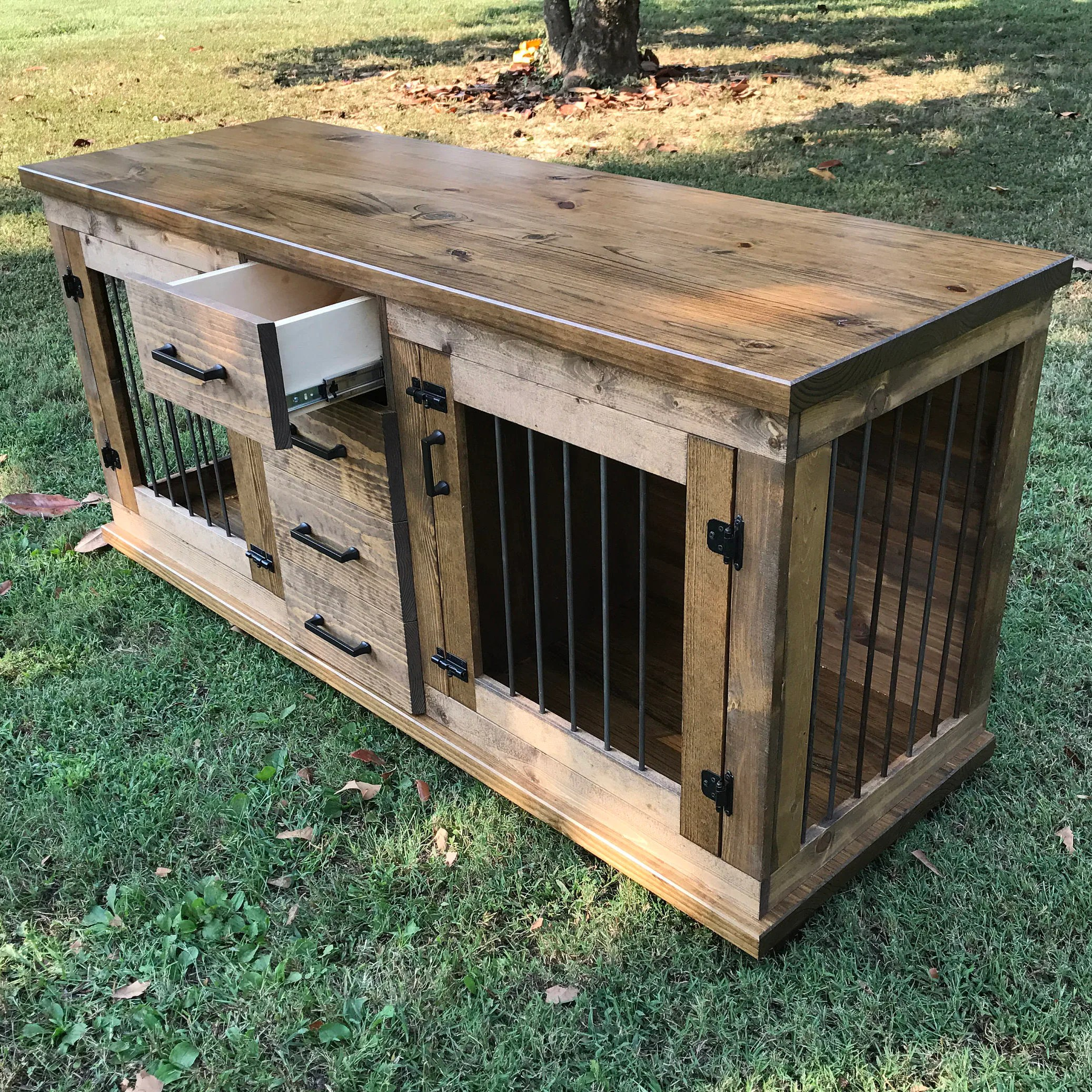 Double Dog Bed Dog Crate Furniture Pet Furniture Custom Dog House Wood Dog Crate Dog Furniture Custom Dog Bed Custom Dog Crate Dog Kennel Furniture