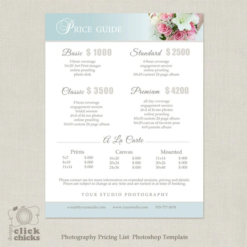 Wedding Photography Package Pricing List Template Etsy