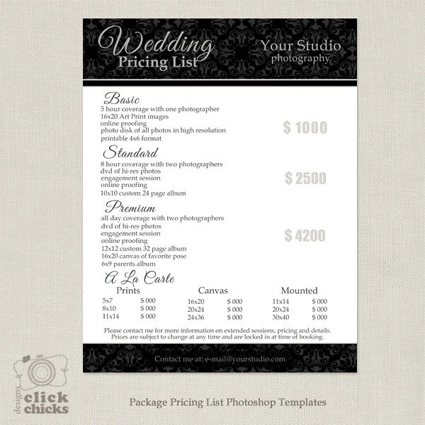 Photography Package Pricing List Template Wedding Etsy