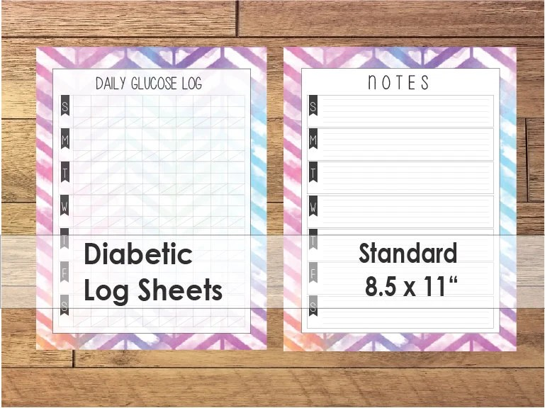 Printable Diabetic Log Sheets Colorful Ombre Chevron Etsy