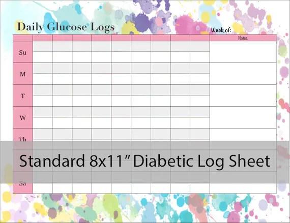 Items similar to Diabetic Glucose Log Sheet - PRINTABLE PDF on Etsy