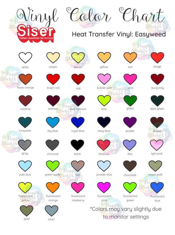 HTV Color Chart Digital Download Siser Easyweed Color Chart Etsy