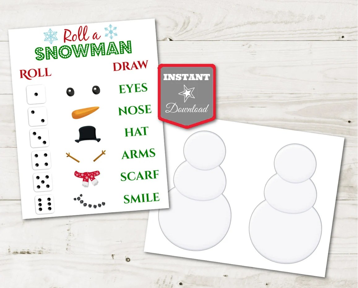 INSTANT DOWNLOAD Printable Christmas Party Roll a Snowman Game Etsy