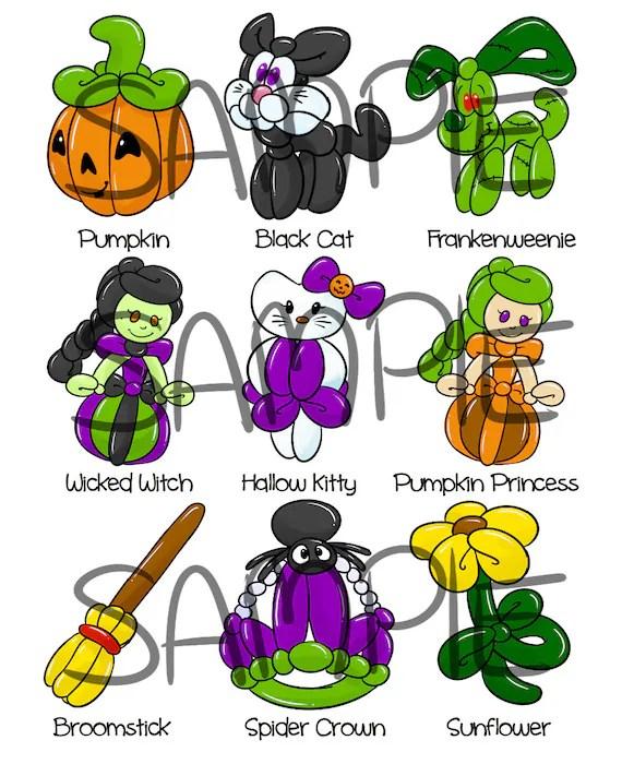 Balloon Halloween Bundle 2 pages Digital Download Menus Etsy