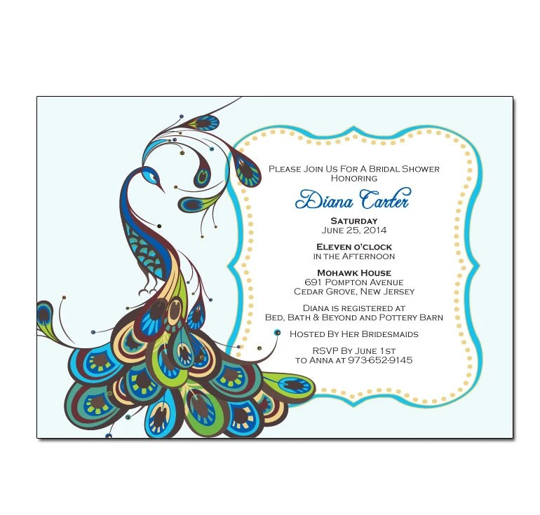 Peacock Bridal Shower Invitation with Frame DIY PRINTABLE Etsy