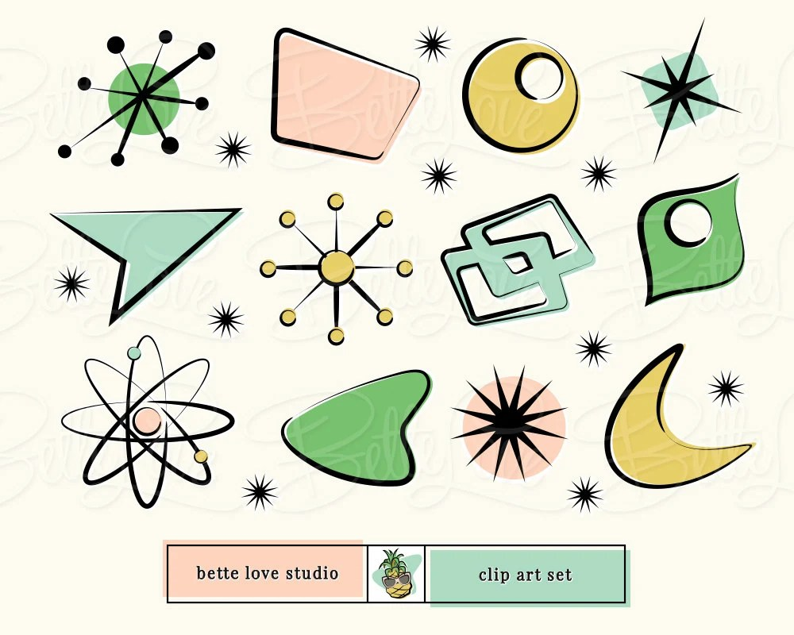 Retro Clip Art atomic starburst Retro Signs  Shapes Etsy