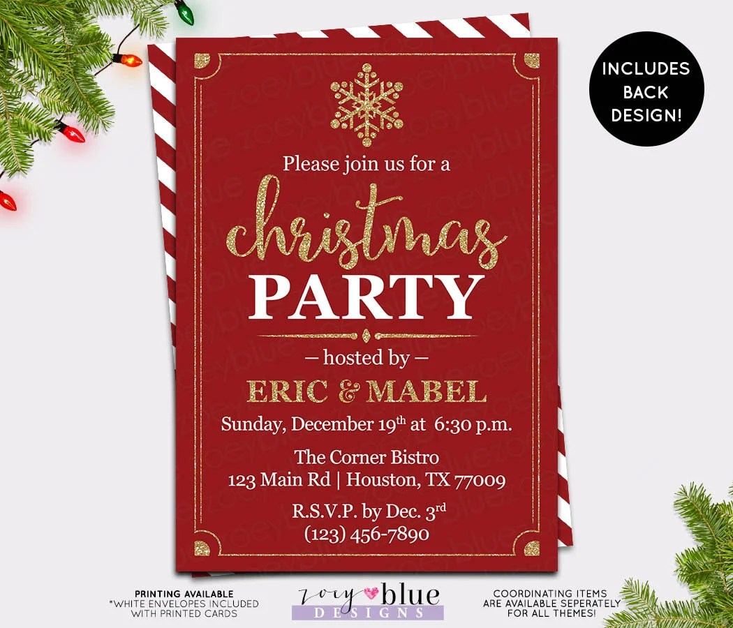 Christmas Party Invitation - Red Gold Holiday Party Invite - Company