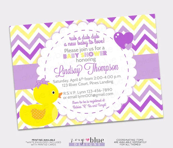 Girl Rubber Ducky Baby Shower Invitation Girl Bow Printable (Ducky