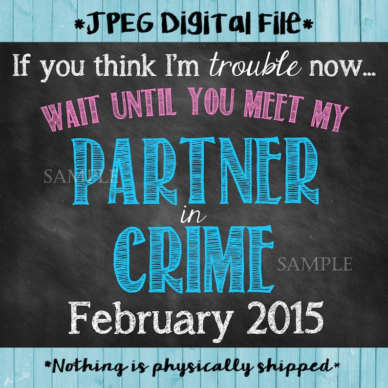 Partner in Crime Pregnancy Announcement   Partner in Crime Etsy