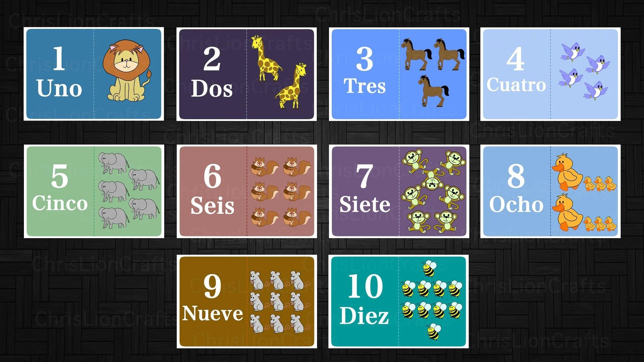 PRINTABLE Spanish Animal numbers card set Animals flash Etsy