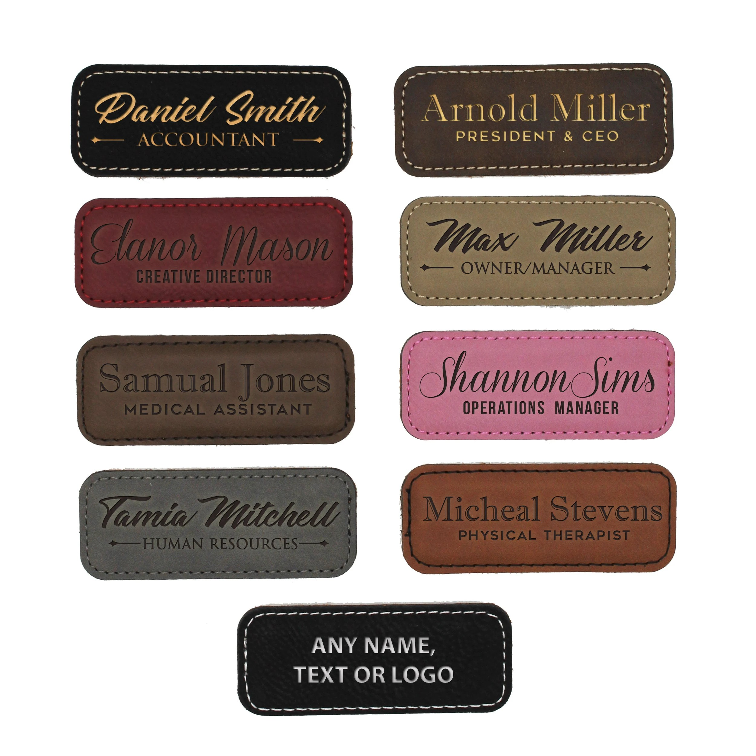 Leather Name Tag Name Tags Magnetic Oval Name Badge Etsy