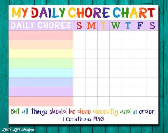 Chore chart for kids Chore chart printable Chore list Kids