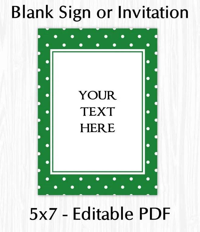5x7 Green Polka Dot BLANK Sign Printable Sign or Invite Etsy