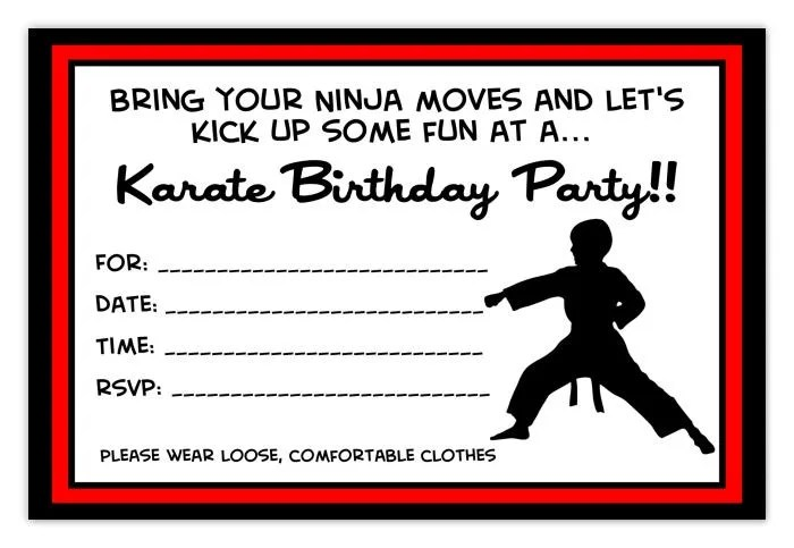 Karate Party Birthday Invitation Karate Birthday Invitation Etsy