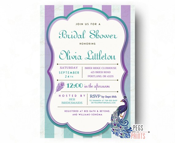 Peacock Bridal Shower Invitation   Printable Peacock Bridal Shower