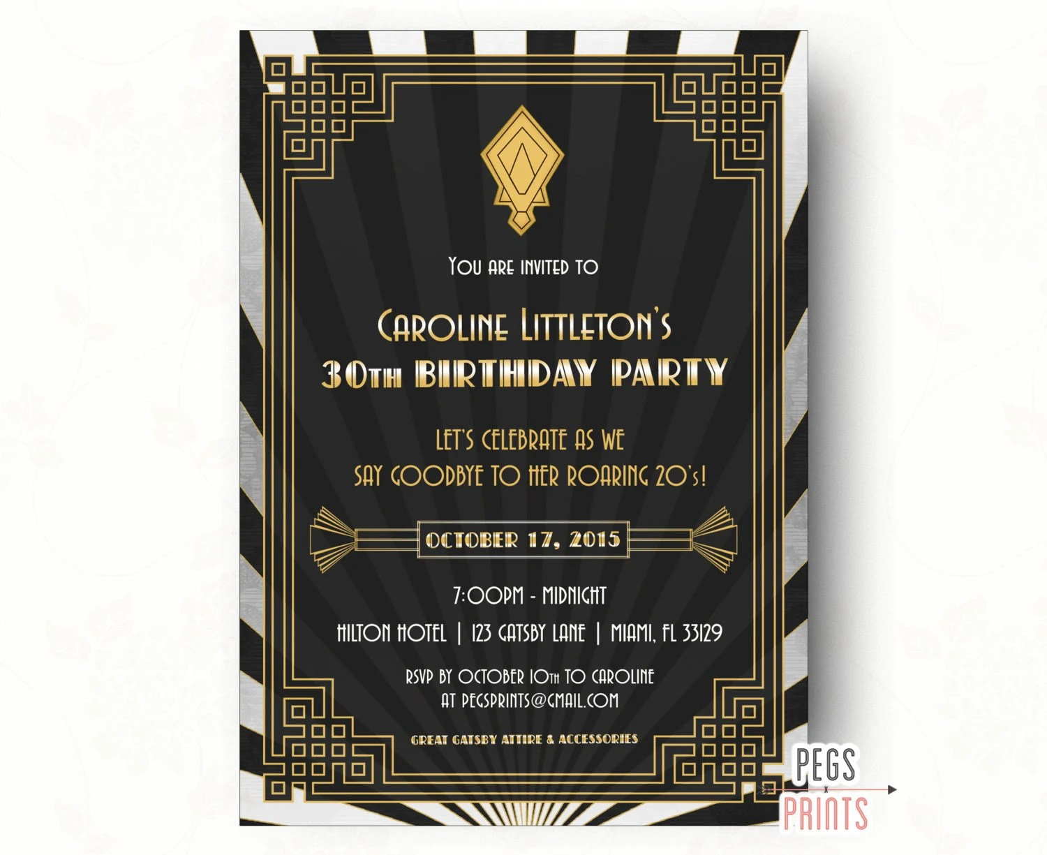 Great Gatsby Invitation Printable Great Gatsby Birthday