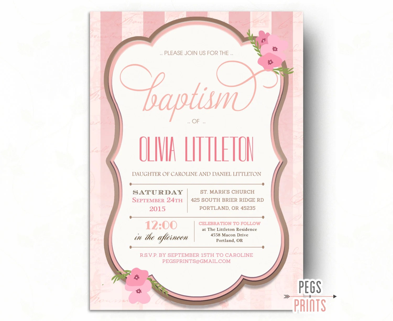 Printable Baptism Invitation Baptism Invitation Girl