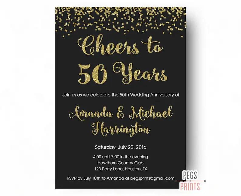 Cheers to 50 Years Invitation 50th Anniversary Invitation Etsy
