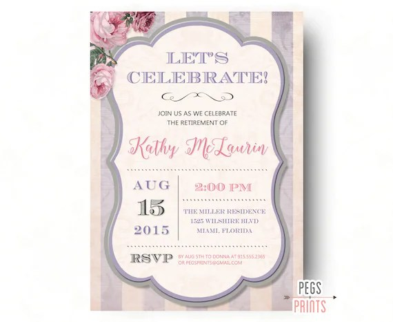Retirement Party Invitation Shabby Chic - Retirement Party Invites