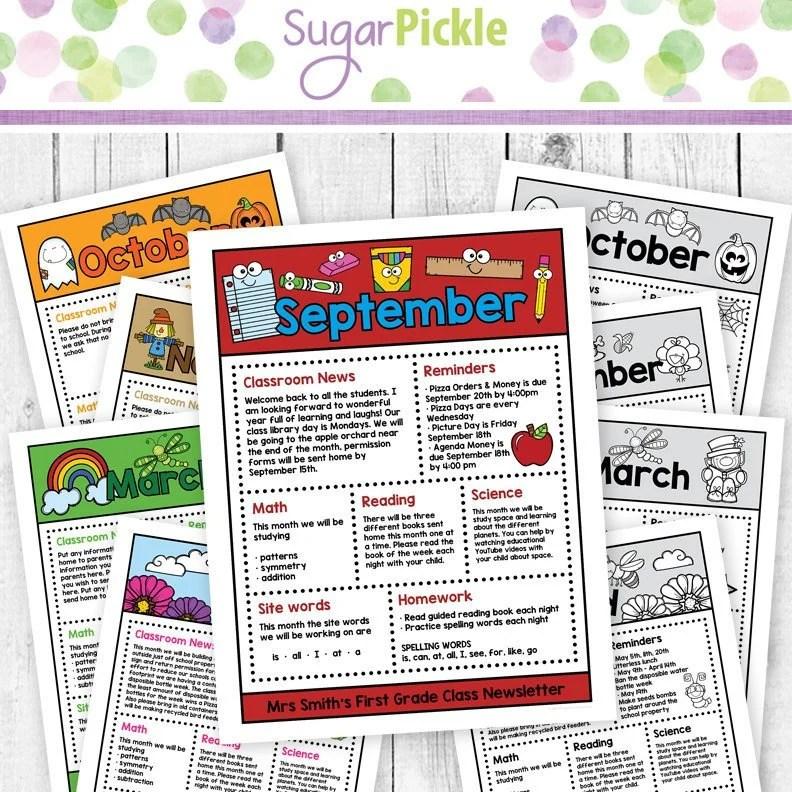 Class Newsletter Editable Newsletter for a kindergarten Etsy