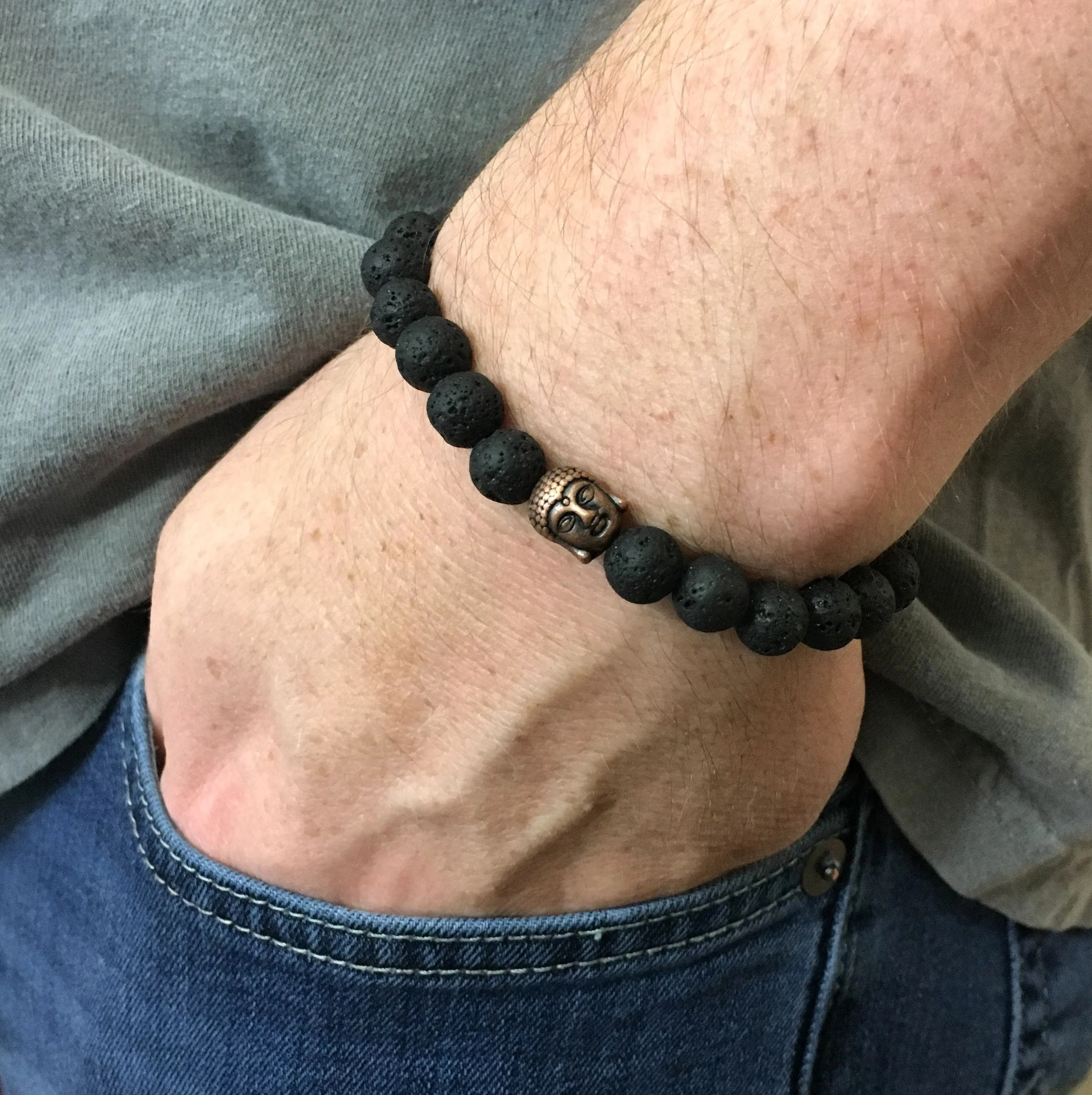 8mm Jeans Lava Stone Buddha Bracelet Unisex 8mm Beads Antiqued Copper Buddha Bead Stretch Custom Sizing