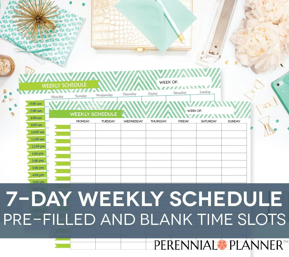 Weekly Schedule Printable 7 Days Customizable Daily Times Etsy