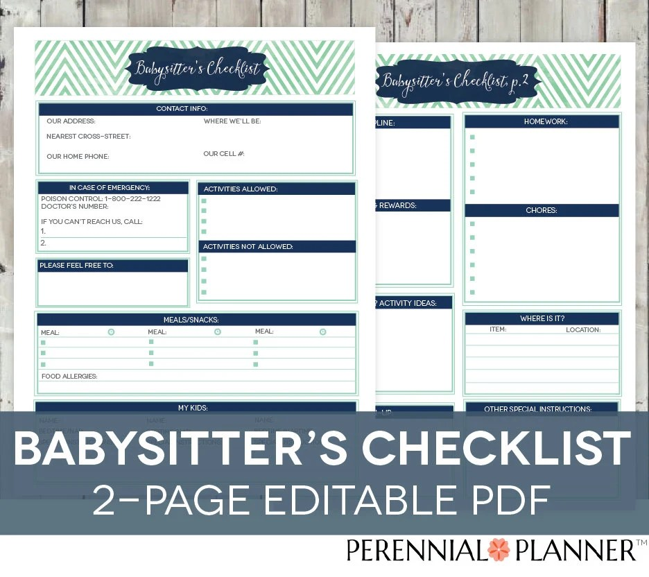 Babysitter\u0027s Checklist Printable EDITABLE 2 Pages Etsy