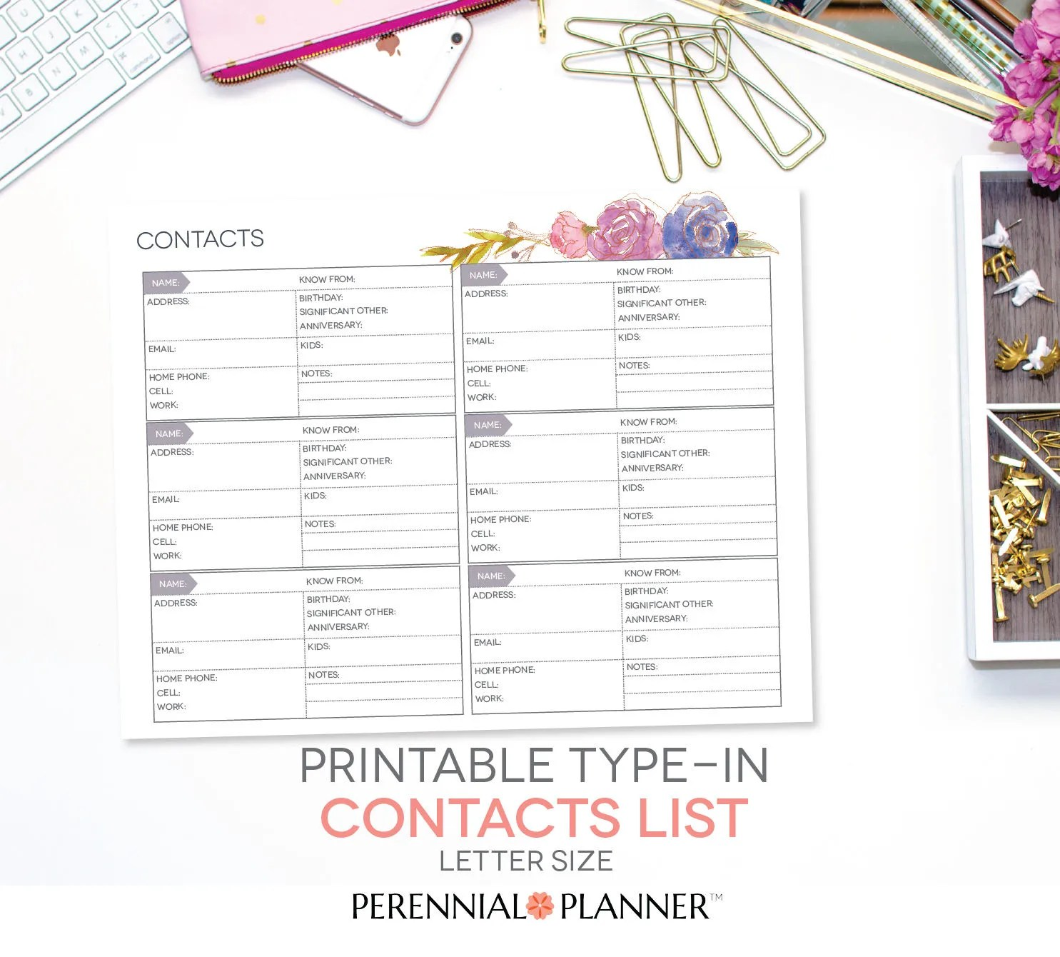 Printable Contacts List TYPE IN Address Book Record Etsy