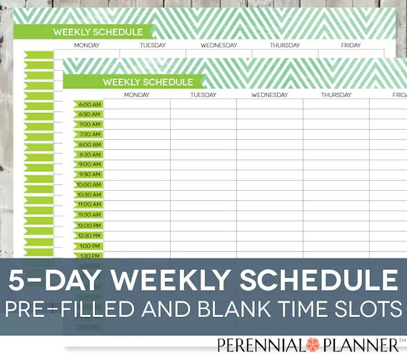 Daily Schedule Printable Editable Times Half-Hourly Weekly Etsy - weekly schedule printable with times