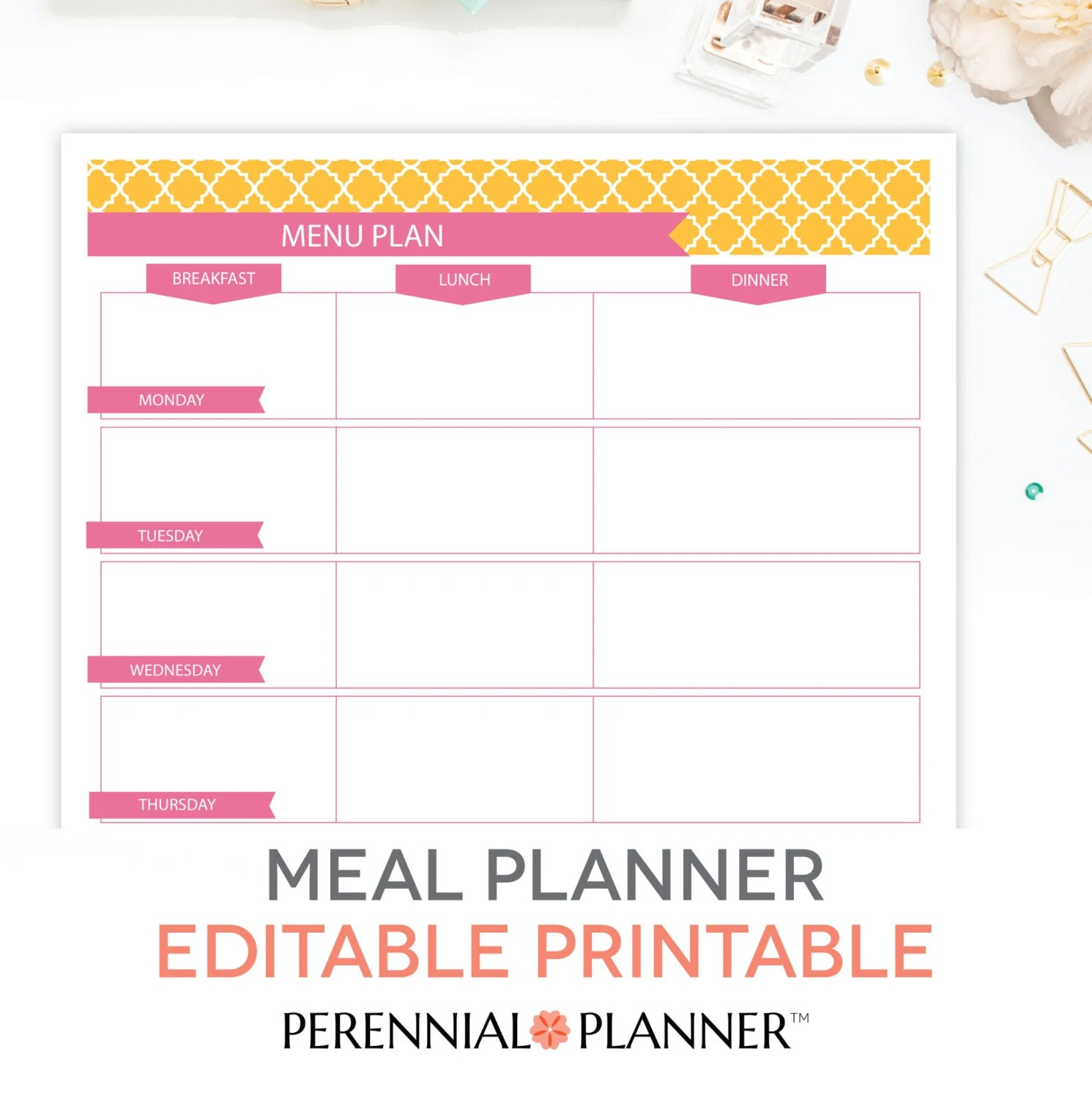 Menu Plan Weekly Meal Planning Template Printable EDITABLE Etsy - menu planning template