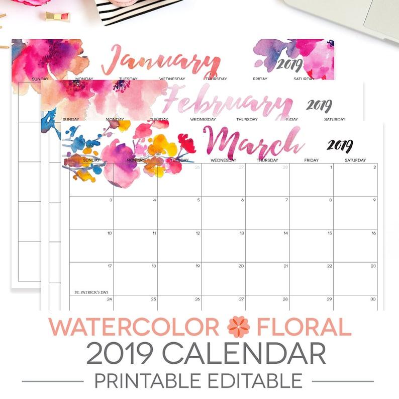 2019 Printable Calendar Editable 12 Month Letter Size Etsy