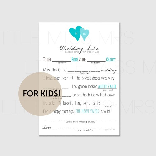 Medium Of Wedding Mad Libs