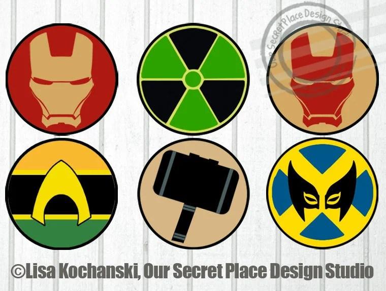 Printable Superhero Logo Stickers Superhero Symbols Superhero Etsy