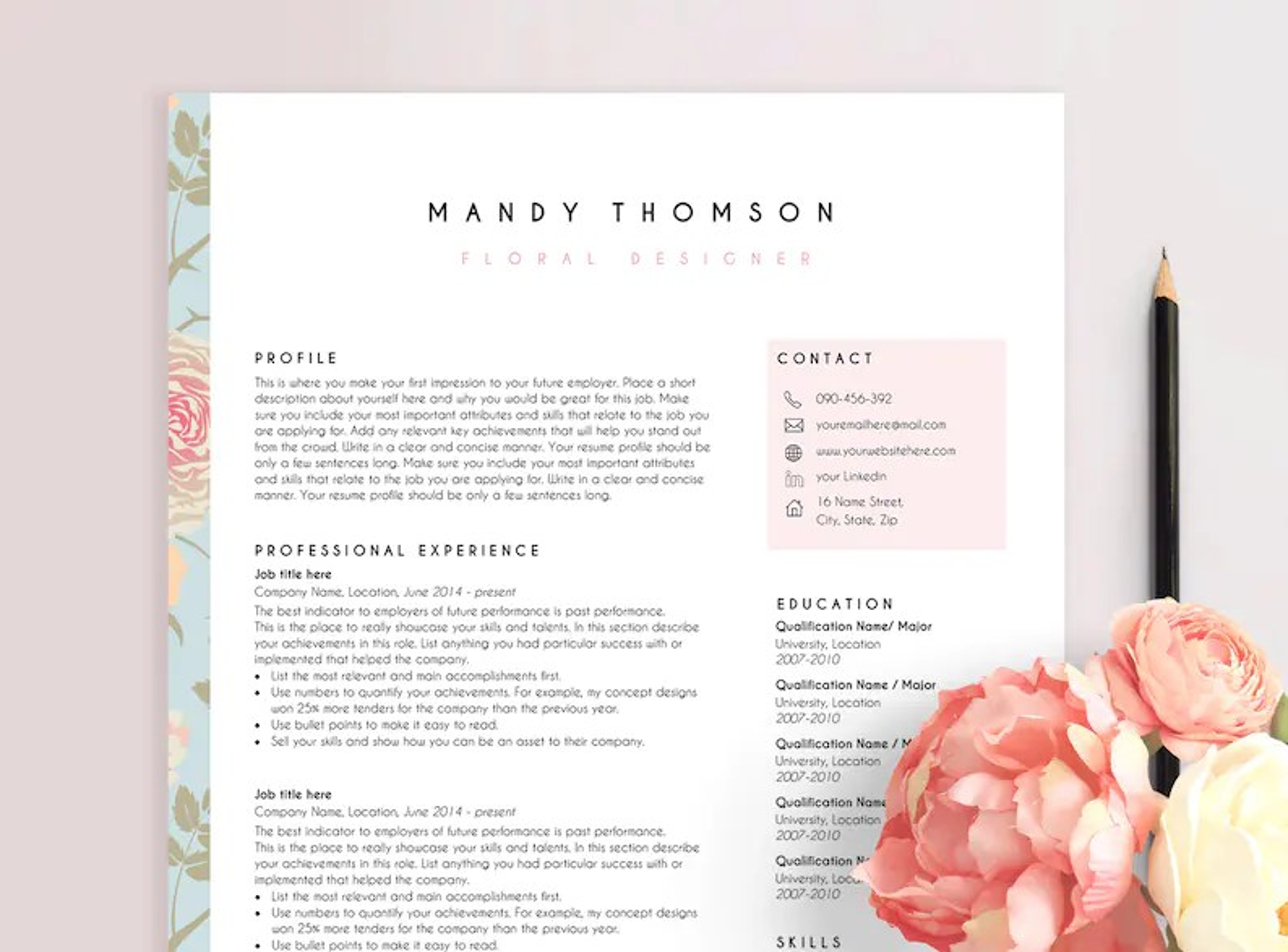 Resume template CV design CV template instant download Etsy