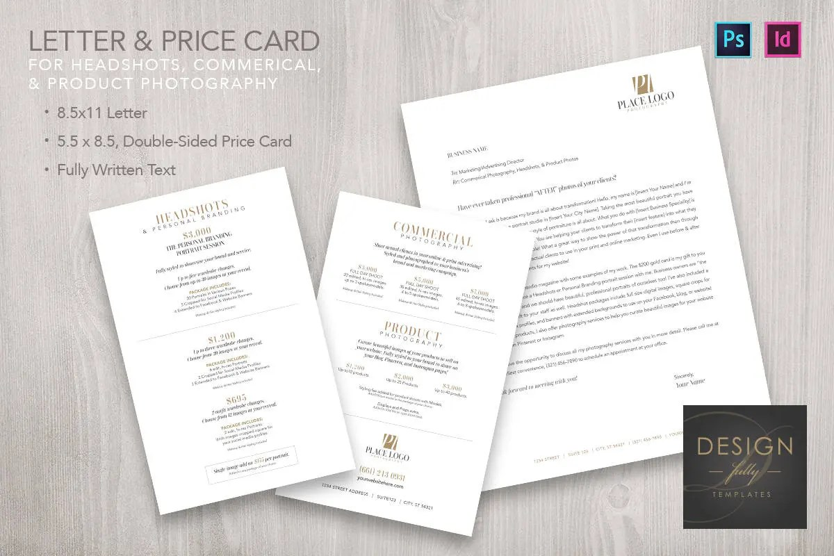 Letter and Pricing Card for Headshots Commercial and Product Etsy