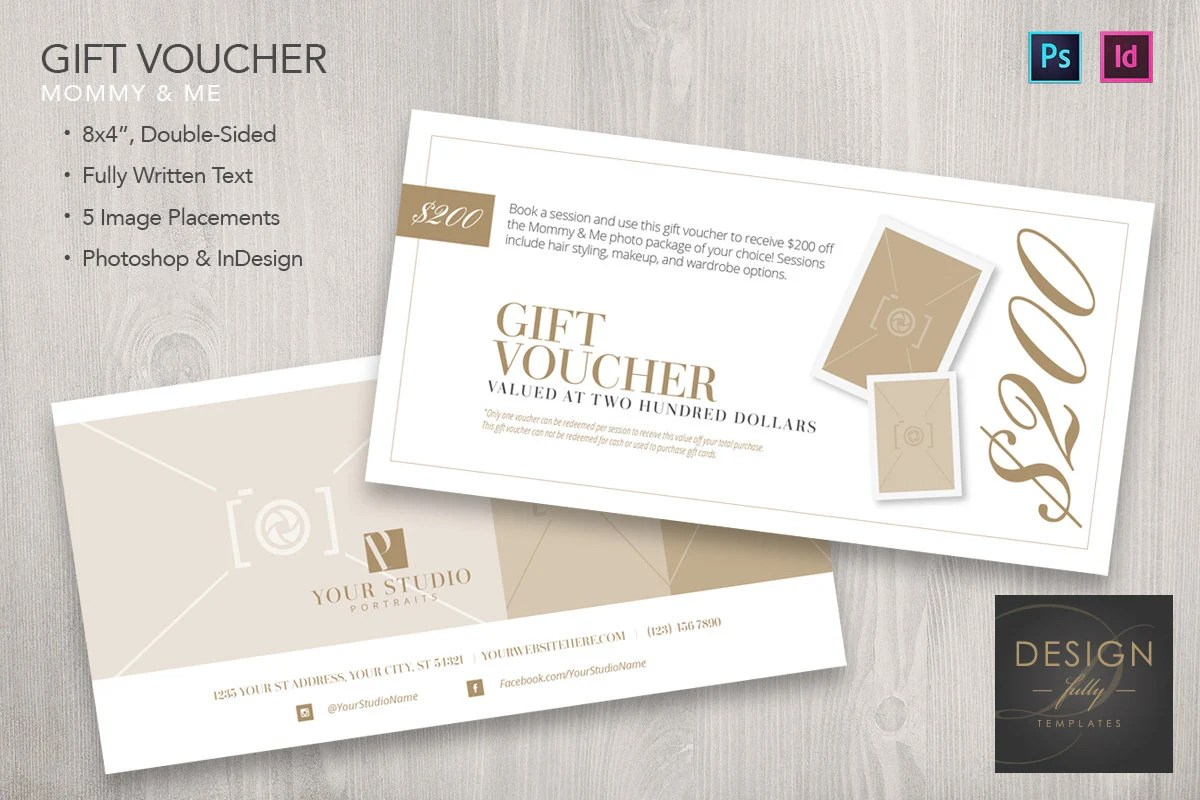 Mommy and Me 8x4 Gift Voucher Template for ID  PSD CS4 CC Etsy