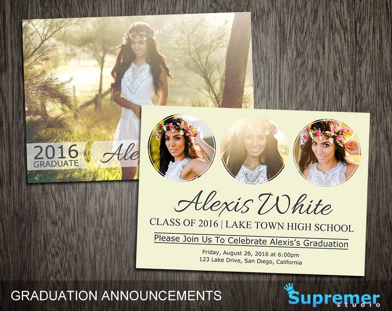 Graduation Announcements Templates Graduation Card Templates Etsy